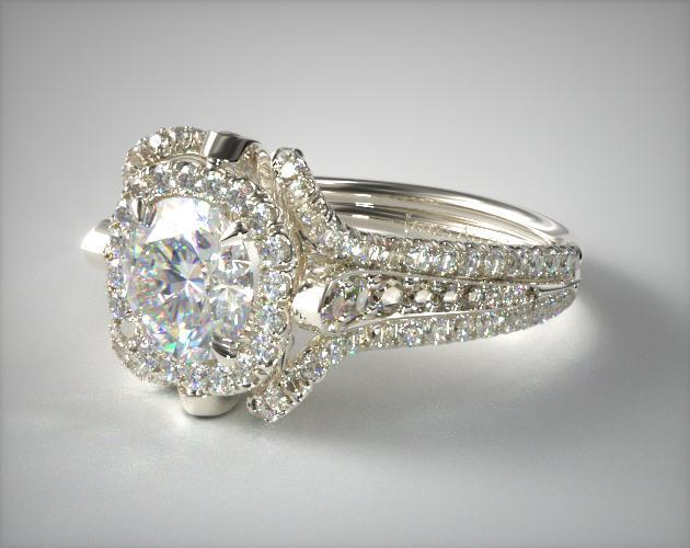 18K White Gold Split Shank Pave Halo with Pave Diamond Details