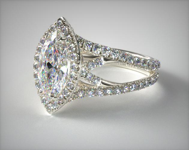 Platinum Split Shank Engagement Ring with Diamond Halo and Sculpted Design