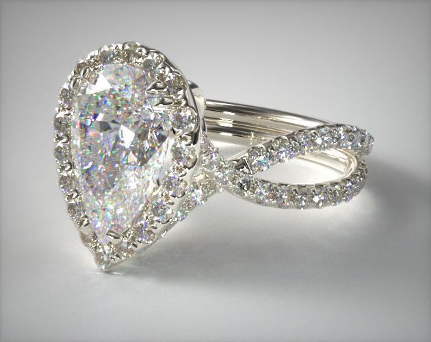 18K White Gold Elevated Pave Halo Engagement Ring with Diamond Encrusted Band