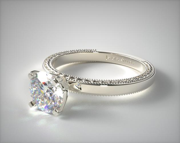 18K White Gold Etched Profile Solitaire Engagement Ring