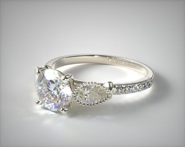 18K White Gold Fanciful Fluted Pear Pave Engagement Ring