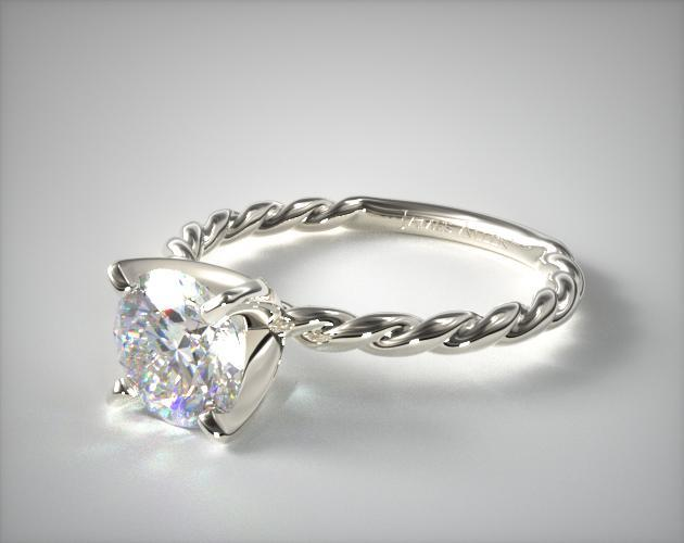 14K White Gold Cable Solitaire Engagement Ring