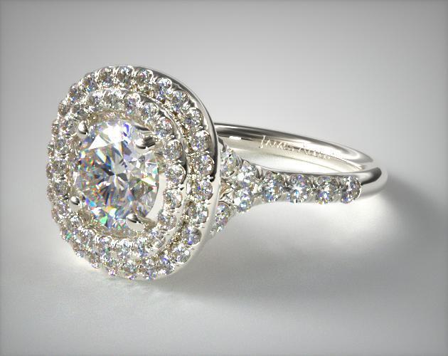 14K White Gold Diamond Split Shank Double Halo Pave Engagement Ring
