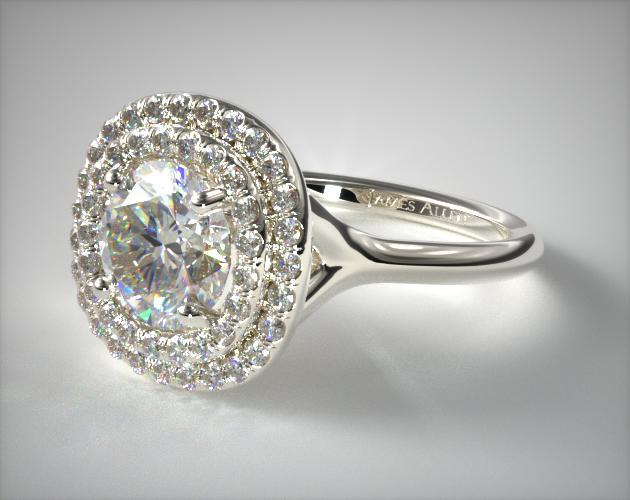 14K White Gold Split Shank Double Halo Pave Engagement Ring