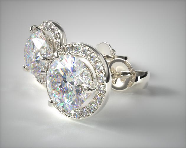 Platinum 1ctw Round Brilliant Diamond Pave Frame Earrings