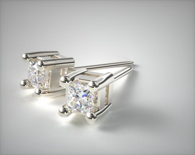 18K White Gold 1/4ctw Asscher Shaped Diamond Earrings