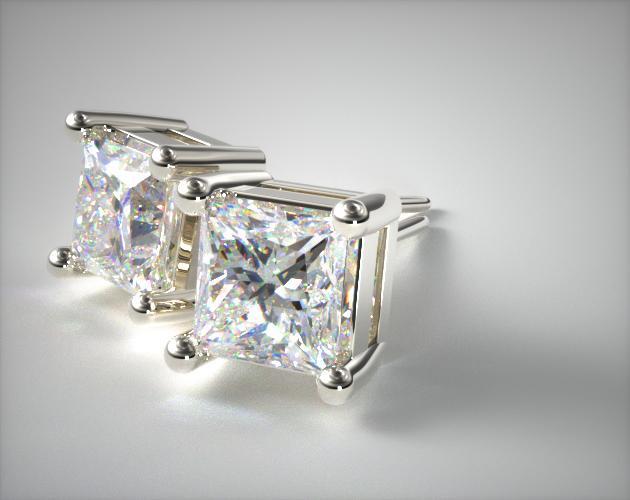 18k White Gold 3/4ctw Classic 4 Prong Asscher Cut Diamond Earrings
