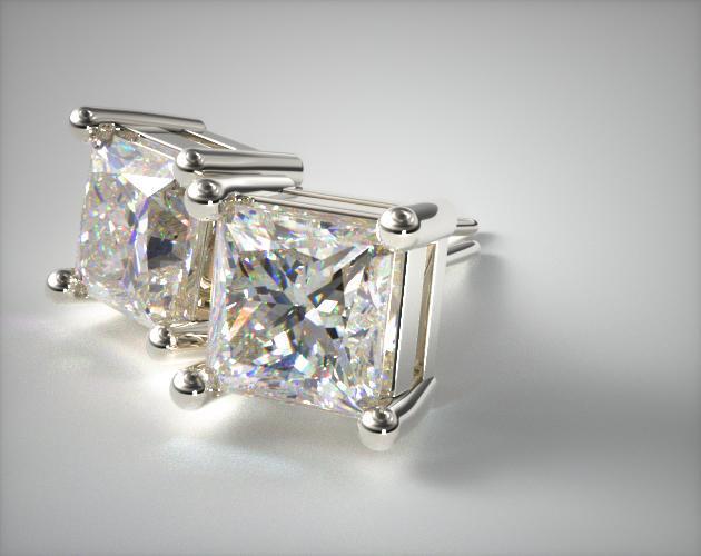 18K White Gold 1.00ctw Asscher Shaped Diamond Earrings