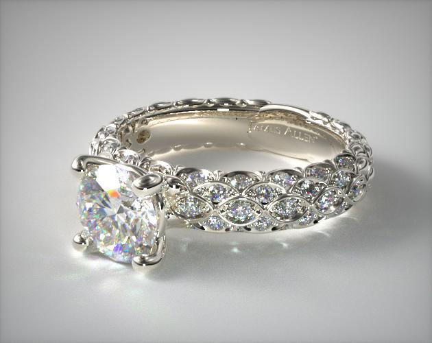 18k White Gold Pave Marquise Scallop Engagement Ring