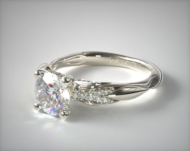 14K White Gold Single Drop Pave Wavy Engagement Ring