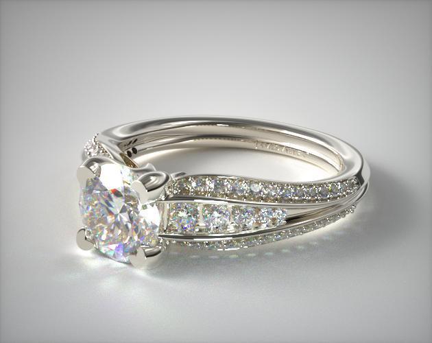 18K White Gold Half Moon Split Shank Engagement Ring