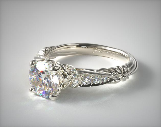 18k White Gold Pave Graduated Flower Engagement Ring
