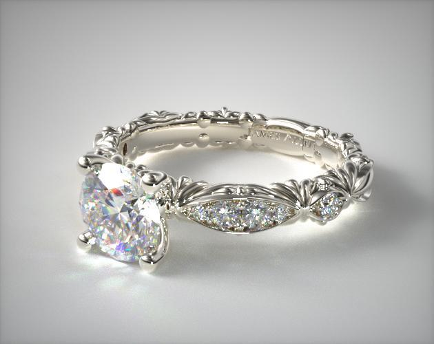 Platinum Single Row Pave Cascading Engagement Ring