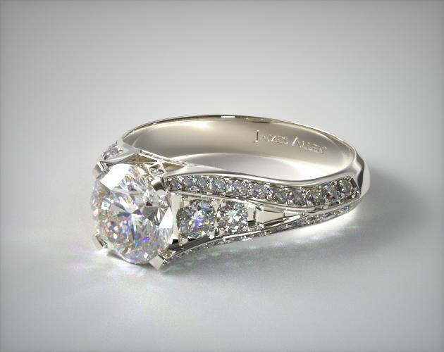 14K White Gold 0.50ctw Pave Set Diamond Engagement Ring