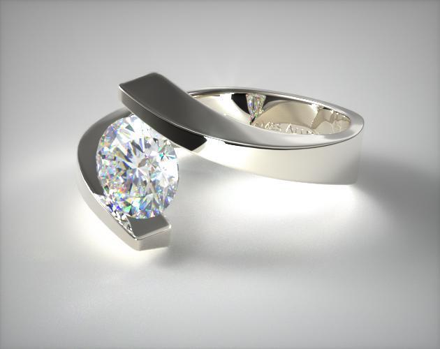 14K White Gold Spiral Tension Set Engagement Ring