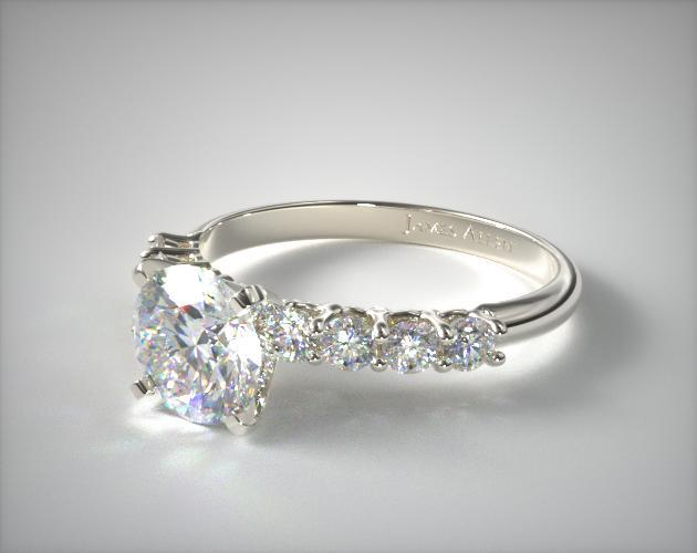 18K White Gold 0.50ct Prong Set Round Shaped Diamond Engagement Ring