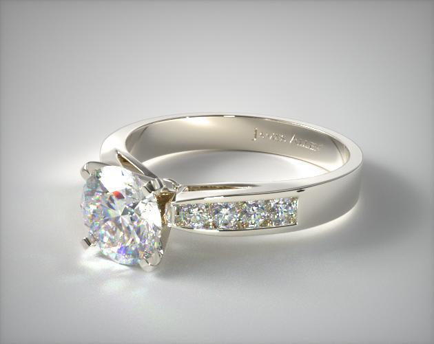 Platinum 0.16ct Channel Set Round Shaped Diamond Engagement Ring