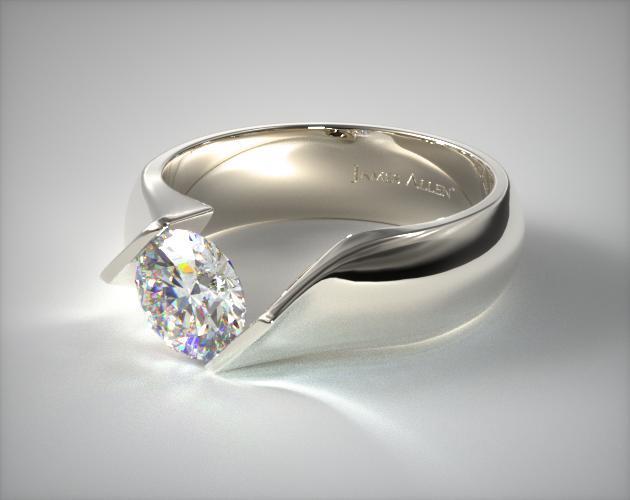 14K White Gold Contoured Twist Tension Set Engagement Ring