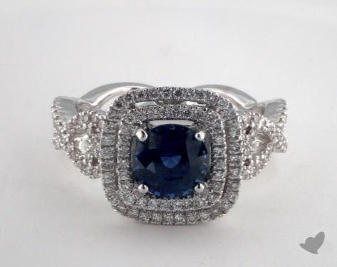 18K White Gold 1.48ct Round Blue Sapphire Ring