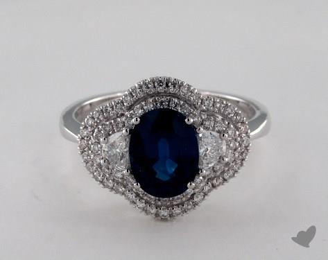 18K White Gold 1.67ct  Oval Shape Blue Sapphire Double Halo Ring