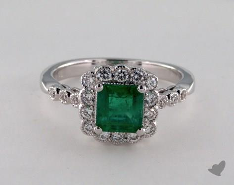 18K White Gold 1.03ct Green Emerald Scallop Halo Ring