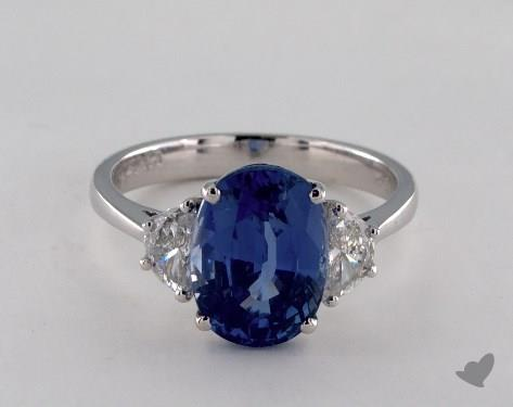 18K White Gold  4.43ct  Blue Sapphire Ring