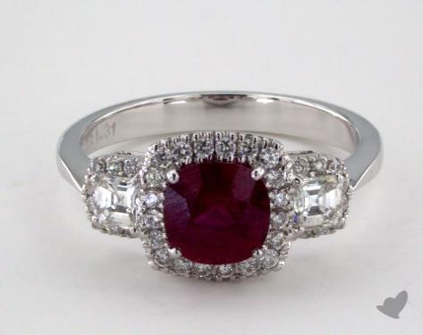 18K White Gold 1.31ct  Cushion Shape Ruby Three Stone Ring