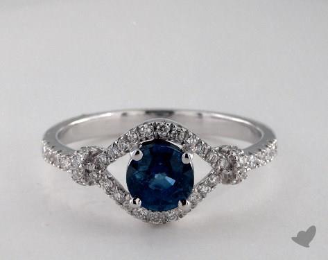 18K White Gold 1.10ct  Round Blue Sapphire Lariat Ring