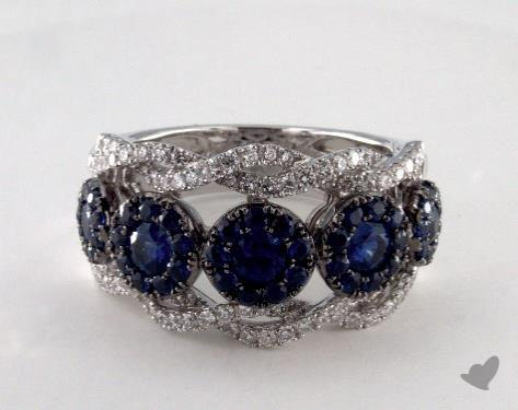 18K White Gold 1.61ct  Round Blue Sapphire Floret Ring