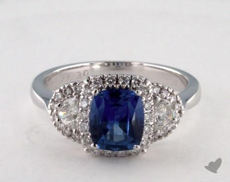 18K White Gold 1.30ct  Cushion Blue Sapphire Halo Ring