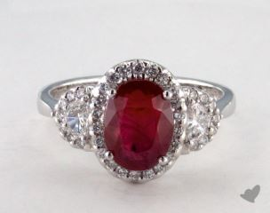 Platinum 3.09ct  Oval Shape Ruby Ring