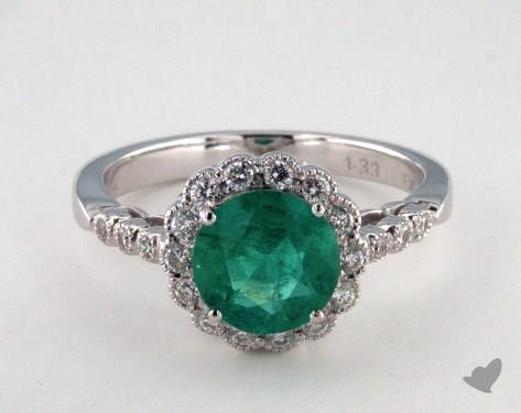 18K White Gold 1.33ct  Round Green Emerald Scallop Halo Ring