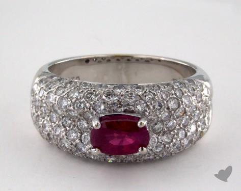 18K White Gold 0.96ct  Oval Shape Ruby Pave Ring