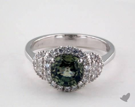 18K White Gold 1.76ct  Cushion Shape Green Sapphire Ring