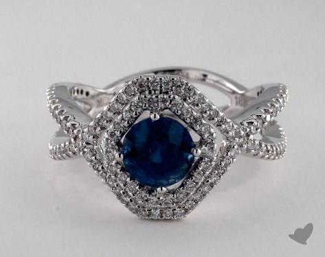 18K White Gold 1.23ct  Emerald  Shape Blue Sapphire Pave Frame Ring
