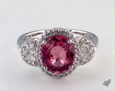 18K White Gold 3.40ct  Cushion Shape Pink Sapphire Ring