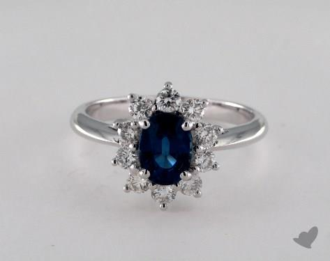18K White Gold 1.24ct Oval Blue Sapphire Starburst Ring