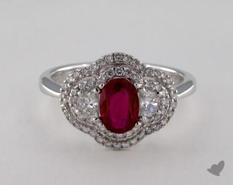 18K White Gold 0.78ct  Oval Ruby Alice Ring