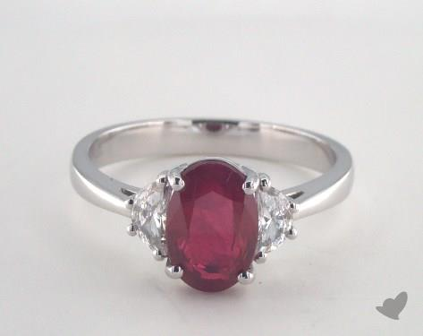 18K White Gold 2..27ct  Oval Shape Ruby Ring