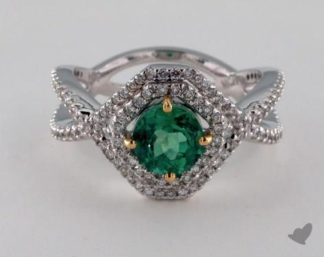 18K White Gold 1.12ct  Round Green Emerald Pave Ring