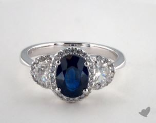 18K White Gold 1.78ct  Oval Shape Blue Sapphire Ring