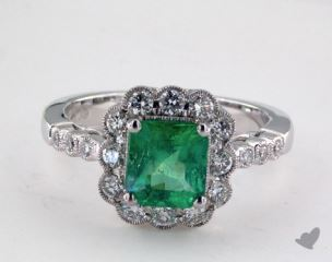 18K White Gold - 1.39ct  - Emerald - Green Emerald - Daniella Ring