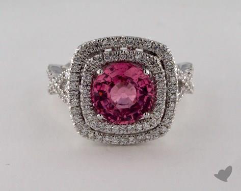 18K White Gold  2.86ct  Round Pink Sapphire Ring