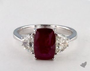 18K White Gold 1.65ct Cushion Shape Ruby Three Stone Ring