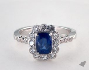 18K White Gold 1.28ct  Cushion Shape Blue SapphireScallop Halo Ring