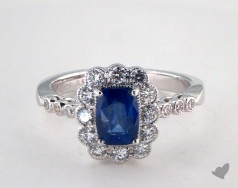 18K White Gold 1.28ct Cushion Shape Blue Sapphire Engagement Ring
