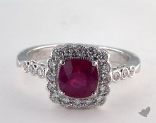 18K White Gold 1.18ct  Round Ruby Scallop Halo Ring