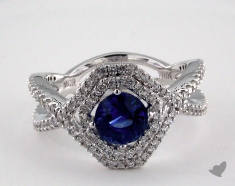 18K White Gold 1.14ct  Round Blue Sapphire Pave Frame Ring