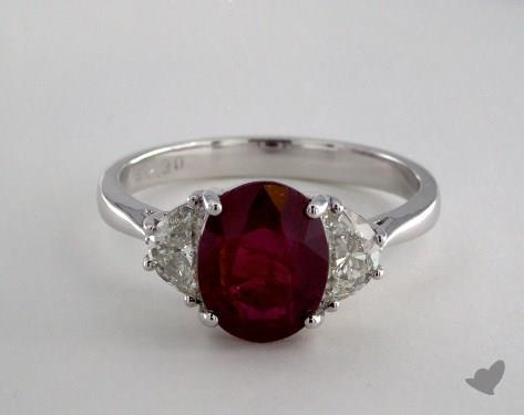 18K White Gold 2.30ct Oval Ruby Three Stone Ring