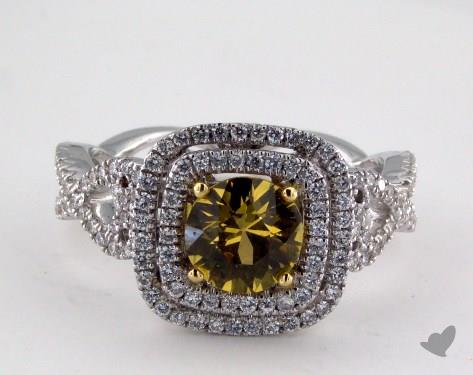 18K Two Tone 1.24ct  Round Yellow Sapphire Double Halo Ring